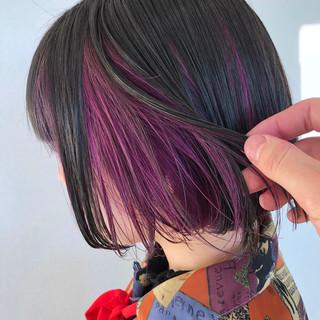 ピンク ナチュラル インナーカラー パープル ヘアスタイルや髪型の写真・画像