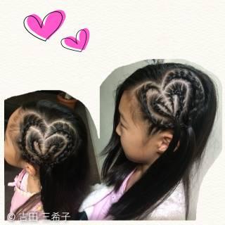 ロング コーンロウ 子供 ヘアアレンジ ヘアスタイルや髪型の写真・画像