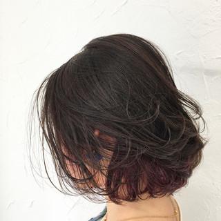 冬 ピンク 色気 インナーカラー ヘアスタイルや髪型の写真・画像