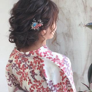 ガーリー デート 花火大会 お祭り ヘアスタイルや髪型の写真・画像