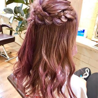 グラデーションカラー イルミナカラー ラベンダーピンク ロング ヘアスタイルや髪型の写真・画像