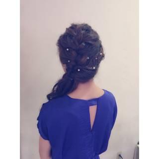 まとめ髪 ヘアアレンジ 波ウェーブ ハーフアップ ヘアスタイルや髪型の写真・画像