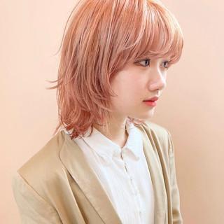 ストリート オレンジベージュ ミディアム ウルフカット ヘアスタイルや髪型の写真・画像