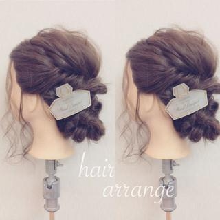 フェミニン 簡単ヘアアレンジ セミロング ショート ヘアスタイルや髪型の写真・画像