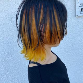 インナーカラー ボブ オレンジカラー ウルフカット ヘアスタイルや髪型の写真・画像