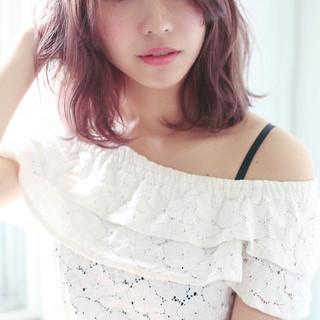 フェミニン ナチュラル ピンク ゆるふわ ヘアスタイルや髪型の写真・画像