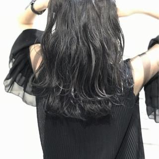 エレガント 暗髪 ロング アッシュ ヘアスタイルや髪型の写真・画像