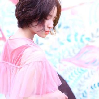 前髪なし アンニュイ ショート パーマ ヘアスタイルや髪型の写真・画像