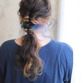 ヘアアレンジ ハイライト ロング 簡単ヘアアレンジ ヘアスタイルや髪型の写真・画像