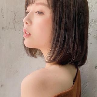 ストレート フェミニン 縮毛矯正ストカール ロブ ヘアスタイルや髪型の写真・画像