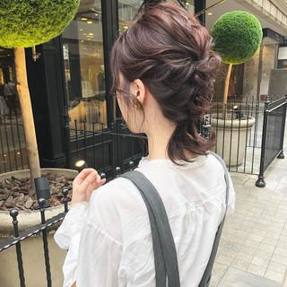 ラベンダー ナチュラル 編みおろし 大人可愛い ヘアスタイルや髪型の写真・画像