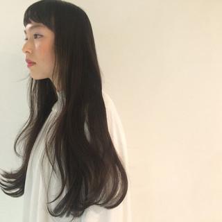 暗髪 ワンカール ロング 黒髪 ヘアスタイルや髪型の写真・画像