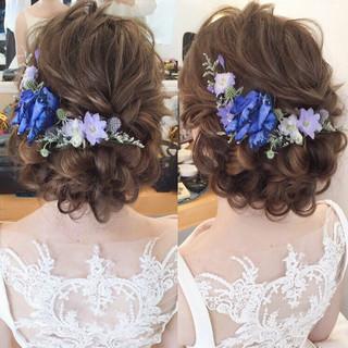 エレガント ヘアアレンジ セミロング パーティ ヘアスタイルや髪型の写真・画像