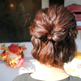 ハーフアップ 簡単ヘアアレンジ ショート 大人かわいい ヘアスタイルや髪型の写真・画像