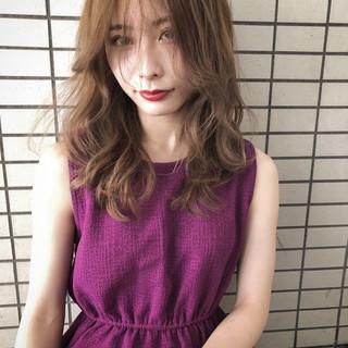 セミロング 外国人風カラー バレイヤージュ 外国人風 ヘアスタイルや髪型の写真・画像