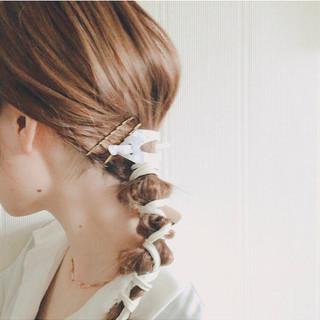 マジェステ ローポニー セルフヘアアレンジ ガーリー ヘアスタイルや髪型の写真・画像