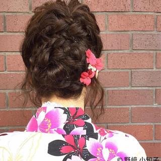 編み込み 夏 ヘアアレンジ くるりんぱ ヘアスタイルや髪型の写真・画像 ヘアスタイルや髪型の写真・画像