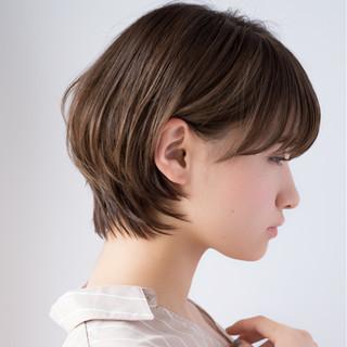 デート デジタルパーマ ショートボブ ボブ ヘアスタイルや髪型の写真・画像