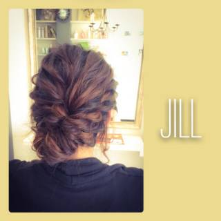 ヘアアレンジ ロープ編み 結婚式 波ウェーブ ヘアスタイルや髪型の写真・画像
