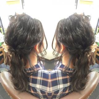 波ウェーブ ヘアアレンジ 外国人風 フェミニン ヘアスタイルや髪型の写真・画像