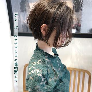 ストレート 大人かわいい 縮毛矯正 ショートボブ ヘアスタイルや髪型の写真・画像