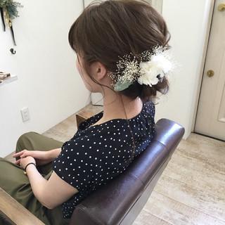 ヘアアレンジ 結婚式 涼しげ ミディアム ヘアスタイルや髪型の写真・画像