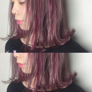 ミディアム 切りっぱなし ラベンダー ストリート ヘアスタイルや髪型の写真・画像