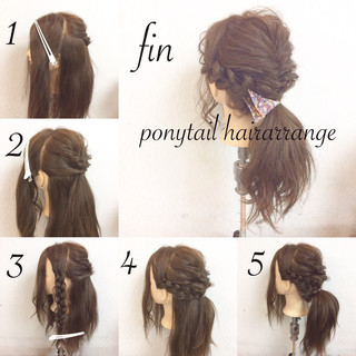 結婚式 簡単ヘアアレンジ フェミニン セミロング ヘアスタイルや髪型の写真・画像