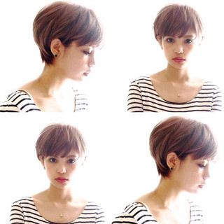 小顔ショート ショートボブ ハンサムショート ナチュラル ヘアスタイルや髪型の写真・画像