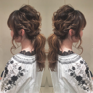 ヘアアレンジ ローポニーテール ロング ナチュラル ヘアスタイルや髪型の写真・画像