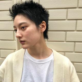 黒髪 パーマ ハンサムショート ストリート ヘアスタイルや髪型の写真・画像