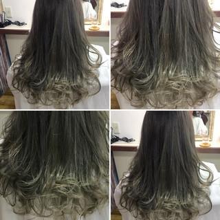 アッシュ ガーリー 外国人風 セミロング ヘアスタイルや髪型の写真・画像