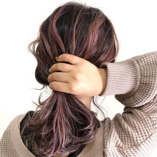 ブリーチ ハイライト ピンク フェミニン ヘアスタイルや髪型の写真・画像