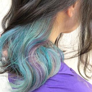 ラベンダーアッシュ ブルー ストリート ラベンダー ヘアスタイルや髪型の写真・画像