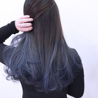 ロング ラベンダー 暗髪 グラデーションカラー ヘアスタイルや髪型の写真・画像