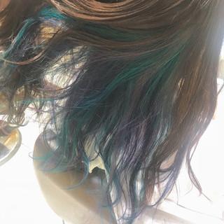 ヘアカラー フェミニン ユニコーンカラー セミロング ヘアスタイルや髪型の写真・画像 ヘアスタイルや髪型の写真・画像