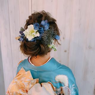ゆるナチュラル ナチュラル ヘアアレンジ 結婚式ヘアアレンジ ヘアスタイルや髪型の写真・画像