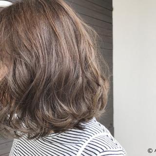 外国人風カラー 秋 ボブ アッシュ ヘアスタイルや髪型の写真・画像