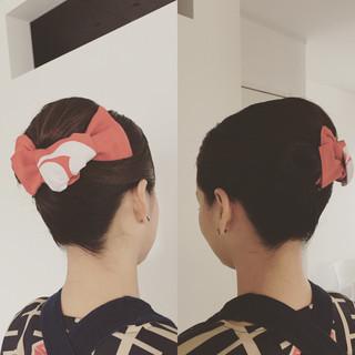ミディアム ヘアアレンジ 夜会巻 お祭り ヘアスタイルや髪型の写真・画像