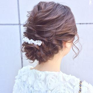 アンニュイほつれヘア 結婚式 セミロング 簡単ヘアアレンジ ヘアスタイルや髪型の写真・画像