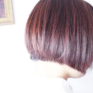 ブリーチ ボブ ピンク 抜け感 ヘアスタイルや髪型の写真・画像