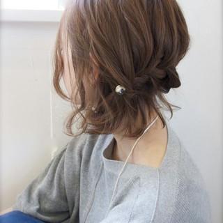 ショート ハーフアップ 編み込み ボブ ヘアスタイルや髪型の写真・画像