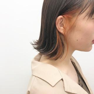 インナーカラー インナーカラーオレンジ ボブ ナチュラル ヘアスタイルや髪型の写真・画像