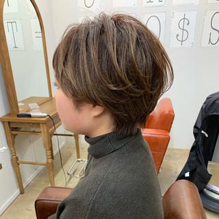 アッシュ ヘアアレンジ ハンサムショート ショートボブ ヘアスタイルや髪型の写真・画像
