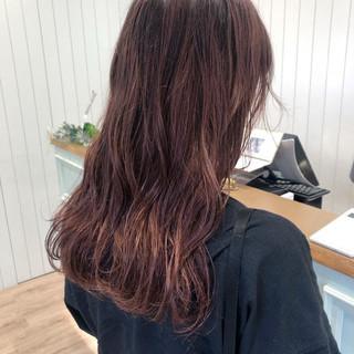 透明感 ピンク ロング アンティークカラー ヘアスタイルや髪型の写真・画像
