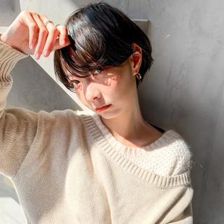 透明感カラー ミニボブ ナチュラル ショート ヘアスタイルや髪型の写真・画像