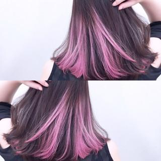ミディアム ピンク グラデーションカラー 色気 ヘアスタイルや髪型の写真・画像 ヘアスタイルや髪型の写真・画像