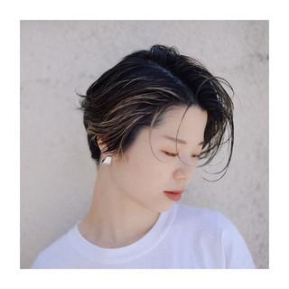 ショート 黒髪 センターパート ストリート ヘアスタイルや髪型の写真・画像
