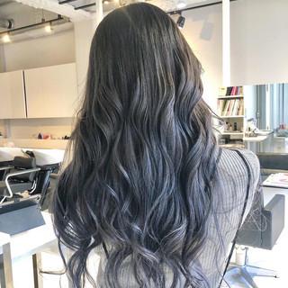 エレガント ブルーグラデーション ロング 巻き髪 ヘアスタイルや髪型の写真・画像