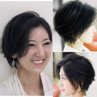 ナチュラル ショートボブ 大人かわいい 黒髪 ヘアスタイルや髪型の写真・画像 ヘアスタイルや髪型の写真・画像